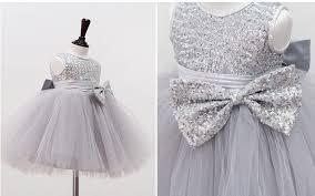 sweet baby dress silver sequin princess big bow sleeveless