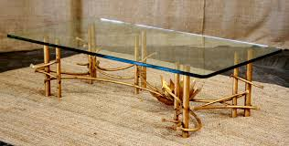 beautiful and charming gold bamboo and glass coffee table home
