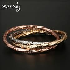 bracelet rose metal images Oumeily bracelets bangles fashion women dubai rose gold silver jpg