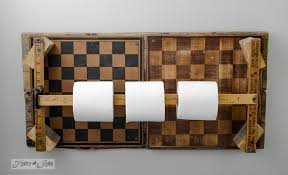 wooden toilet paper holder stand bathroom ideas make a checkerboard yardstick toilet paper holderfunky junk interiors