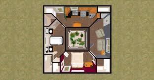 3d top view of the 628 sq ft open air small house design cozys