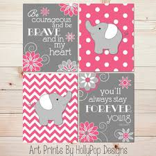 Pink Elephant Nursery Decor Room Wall Baby Nursery From Hollypop Designs