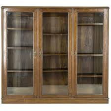 antique scottish three door oak cabinet library bookcase display