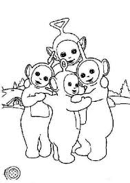 teletubbies hugging coloring color luna