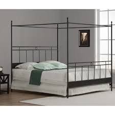 black polished wrought iron king bed with canopy using white