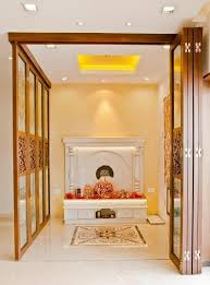 home temple interior design puja room in modern indian apartments the folding door