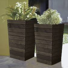 patio planter modern 16 x 16 in brown slatted fir wood patio planter