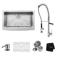 kraus kitchen faucet kraus all in one farmhouse apron front stainless steel 33 in