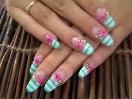 pink gerber long nails acryl