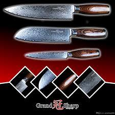 vg10 kitchen knives grandsharp damascus knife set 67 layers japanese damascus steel