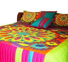 King Size Quilted Bedspreads Buy Big Flower Motif King Size Quilted Bedspread Online