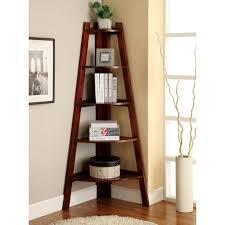 corner brown wooden standing shelves with five brown wooden board