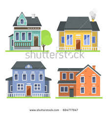cute colorful flat style house village stock vector 604777847
