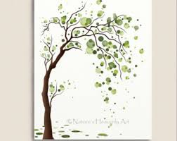green tree watercolor 8 x 10 print birds tree