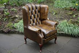 Leather Chesterfield Armchair Fleming Howland Gold Leather Chesterfield Wing Back Armchair For