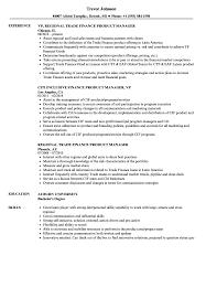 finance product manager resume samples velvet jobs