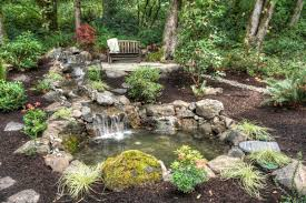 architecture diy backyard waterfall with hillside landscape and