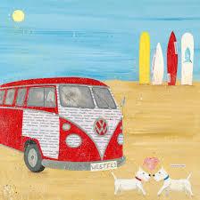 volkswagen bus painting campervan painting canvas beach art whimsical beach art