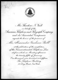 Inauguration Invitation Card Sample Invitation From Theodore N Vail To Alexander Graham Bell 1915