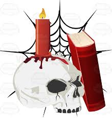 a book rests against a skull with a lit candle on it in