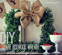 diy square boxwood wreath with burlap bow house by hoff