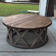 diy round farmhouse table custom built 42 round x brace farmhouse coffee table r s custom