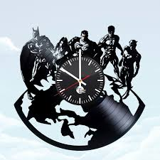 justice league handmade vinyl record wall clock living room decor