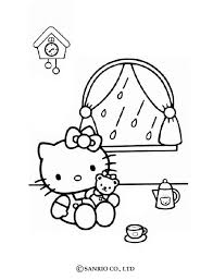 kitty playing doll coloring pages hellokids