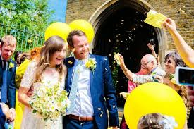 Real Flower Petal Confetti - the confetti blog yellow and blue wedding ideas from the real