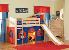 Boys Bedroom Fancy Blue Sheet Brown Wooden Bunk Bed WIth WHite - Fancy bunk beds