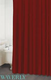 Red Drapery Fabric Garnet Red Linen Stripe Shower Curtain Cozy Homewares Shower