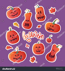 set stickers halloween vector illustration pumpkins stock vector