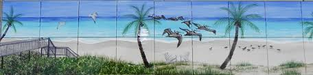 birds flowers and more tropical beach ceramic tile mural