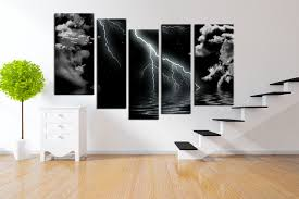 5 piece group canvas black and white wall decor thunderstorm