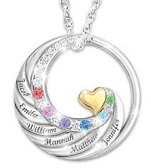 birthstone mothers necklace a s heart holds family s forever necklace