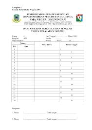format absensi ujian liran liran proker us 2012 2013 a4