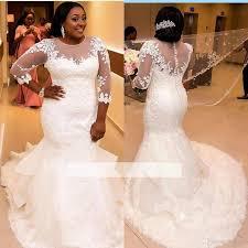 wedding plus new lace appliques scoop mermaid wedding dresses sheer half