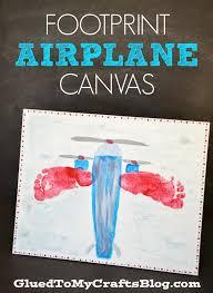 footprint airplane canvas kid craft