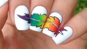 thanksgiving nail art tutorial real feather nail art tutorial youtube 50 latest feather nail art