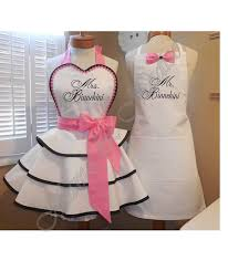 wedding shower presents mr and mrs custom bridal aprons accented in sweet pink