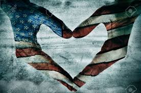 How To Paint American Flag Man Hands Painted As The American Flag Forming A Heart Stock Photo