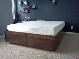 King Size Platform Bed Frame With Storage Plans by Charming How To Make Platform Bed With Storage Also Bedroom Diy