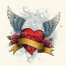 heart and flowers tattoo heart tattoo with wings roses and banner stock vector art