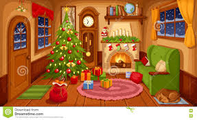 christmas room interior vector illustration stock vector image