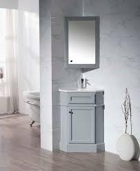 Bathroom Vanity Medicine Cabinet by Stufurhome Hampton Grey 27 Inch Corner Bathroom Vanity With
