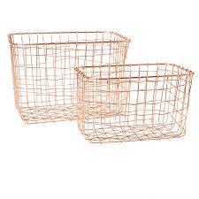 set of 2 wire mesh rectangular baskets copper storage general