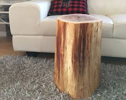 Log Side Table Tree Stump Table Etsy