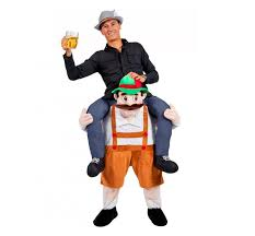 the mask costume oktoberfest ride on piggyback german costume