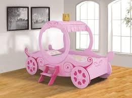 Girls Pink Bed by Twin White Metal Princess Cinderella Carriage Kid Girls