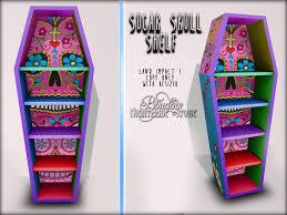 coffin bookshelf second marketplace boudoir sugar skull shelf